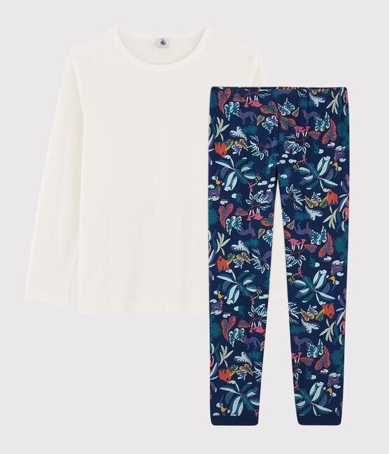 Rippstrick-Pyjama mit Dschungel-Print für Jungen. blau Medieval / weiss Multico