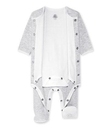 Unisex-Baby-Body und Schlafanzug in einem grau Beluga / weiss Ecume