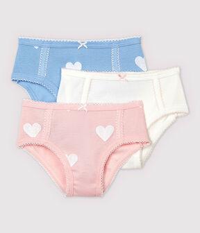 3er-Set Unterhosen aus Bio-Baumwolle mit hoher Taille und Herz-Motiv für Mädchen lot .