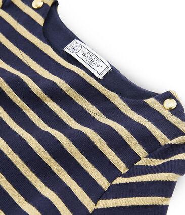 Langärmliges Streifenshirt für Mädchen blau Smoking / braun Brindille Brillant
