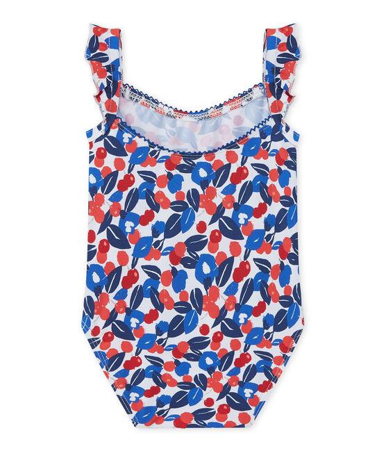Geblümter Baby-Mädchen-Badeanzug weiss Marshmallow / weiss Multico