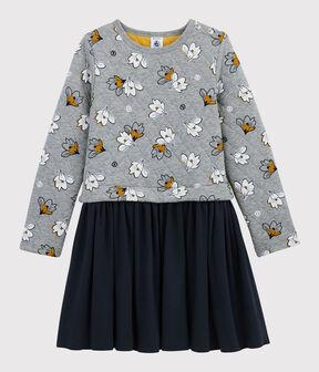 Langärmeliges Kinderkleid für Mädchen grau Subway / weiss Multico