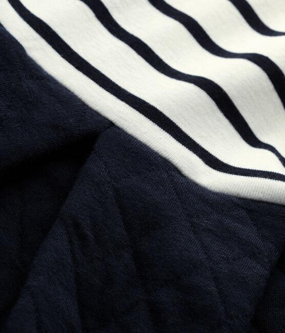 Mädchen-Kleid im Materialmix beige Coquille / blau Smoking