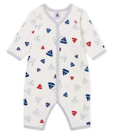 Baby-Strampler ohne Füße aus gedoppeltem Jersey für Jungen weiss Marshmallow / weiss Multico