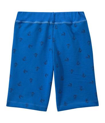 Bedruckte Jungen-Bermudashorts aus schwerem Jersey blau Perse / blau Smoking