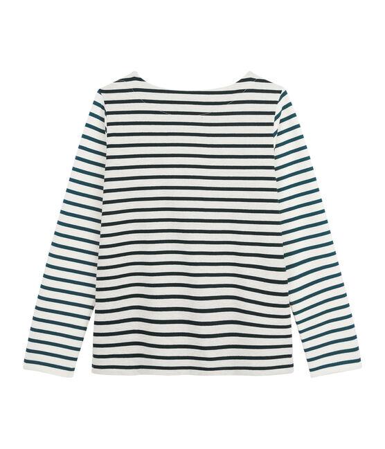 Upcycling T-Shirt mit Marinestreifen für Damen beige Montelimar / grün Sherwood