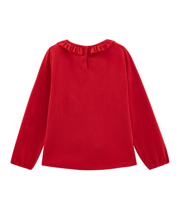 Langärmeliges Kinder-T-Shirt Mädchen rot Terkuit