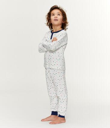 Molton-Pyjama mit hoch geschnittenem Bund für kleine Jungen weiss Marshmallow / weiss Multico