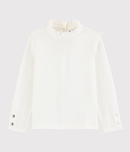 Kinder-T-Shirt mit krausem Kragen für Mädchen weiss Marshmallow