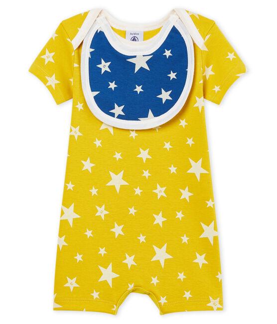 Baby-Kurzoveralls aus Rippstrick für Jungen gelb Honey / weiss Marshmallow