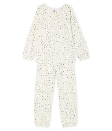 Rippstrick-Pyjama für Mädchen weiss Marshmallow / blau Contes