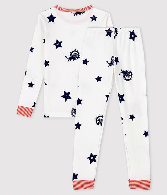 Snugfit-Pyjama aus Rippstrick mit Löwen-Print für Kinder weiss Marshmallow / blau Medieval