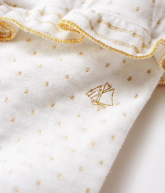 Baby-Legging mit Volants Mädchen weiss Marshmallow / gelb Or