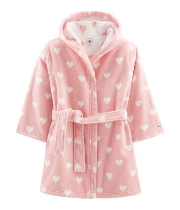 Frottee-Bademantel für kleine Mädchen rosa Charme / weiss Marshmallow