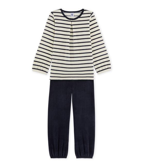 Mädchen-Schlafanzug aus Velours-Frottier beige Coquille / blau Smoking