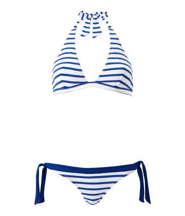 Gestreifter Damen-Bikini weiss Marshmallow / blau Perse