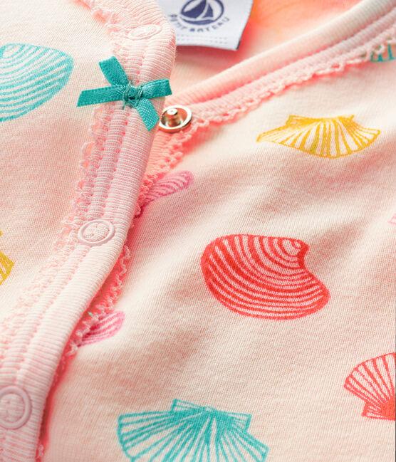 Baby-Strampler aus Rippstrick für Mädchen rosa Fleur / weiss Multico