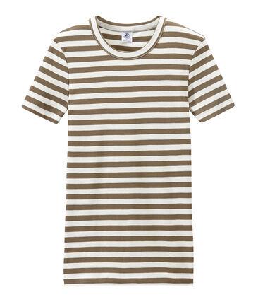 Gestreiftes Damen-T-Shirt aus Original-Rippstrick braun Shitake / weiss Marshmallow