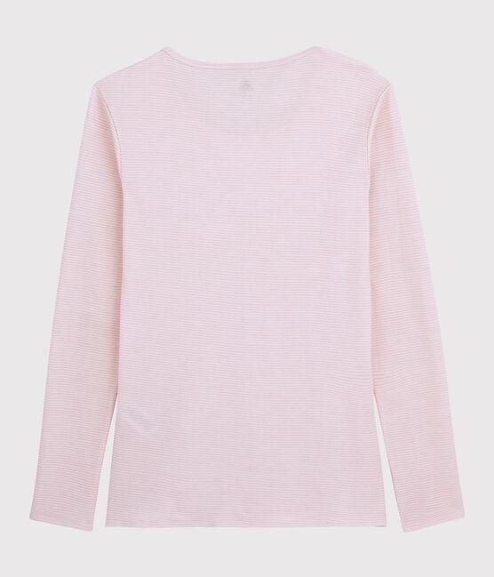 Damen-T-Shirt aus Wolle und Baumwolle rosa Charme / weiss Marshmallow