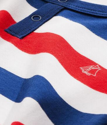 Gestreifter Jungen-Schlafanzug aus Jersey weiss Ecume / blau Source