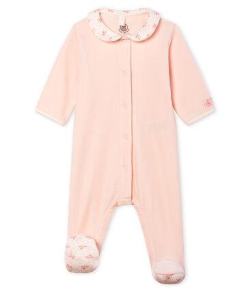 Baby-Strampler aus Velours für Mädchen rosa Fleur