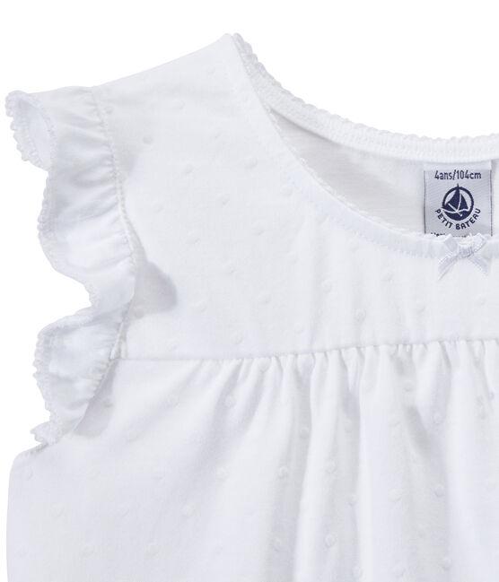 Kurzpyjama aus dünner Baumwolle für Mädchen weiss Ecume