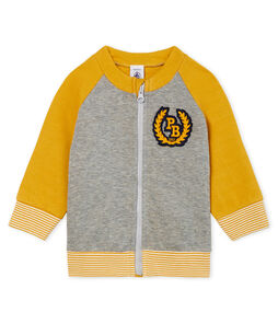 Baby-Cardigan aus Doppeljersey mit Reißverschluss für Jungen grau Subway / gelb Boudor