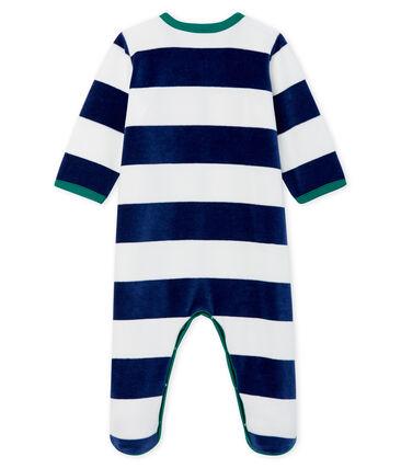 Baby-Strampler aus Samt für Jungen blau Medieval / weiss Marshmallow