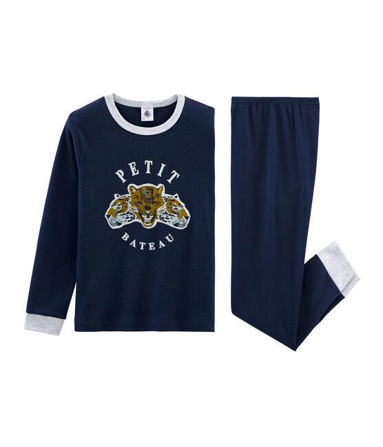 Rippstrick-Pyjama für kleine Jungen blau Haddock
