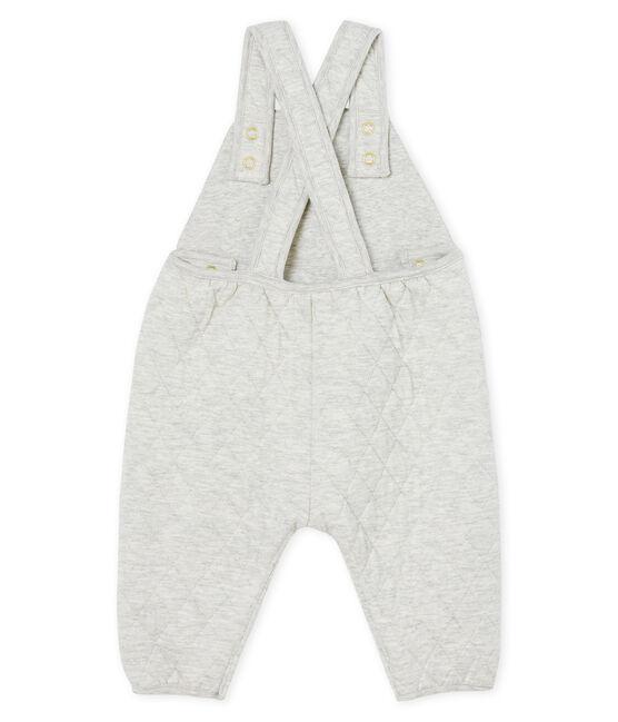 Lange Baby-Latzhose für Mädchen aus gestepptem Doppeljersey grau Beluga