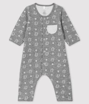 Baby-Langoverall mit Jacquard-Muster und Igel-Motiv aus Doppeljersey grau Subway / weiss Marshmallow