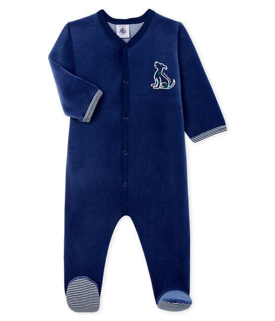 Baby-Strampler aus Samt für Jungen blau Medieval