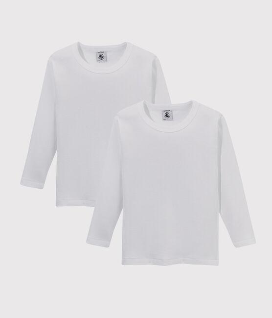 Set aus zwei weißen T-Shirts mit langen Ärmeln für Jungen lot .