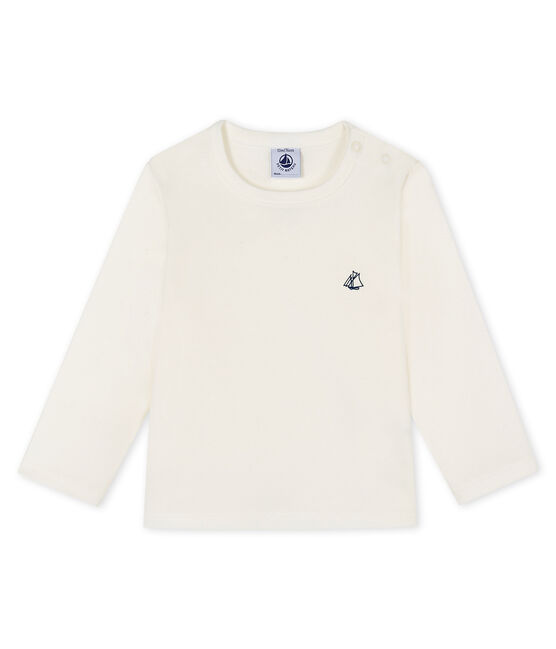 Langärmeliges Baby-T-Shirt weiss Marshmallow
