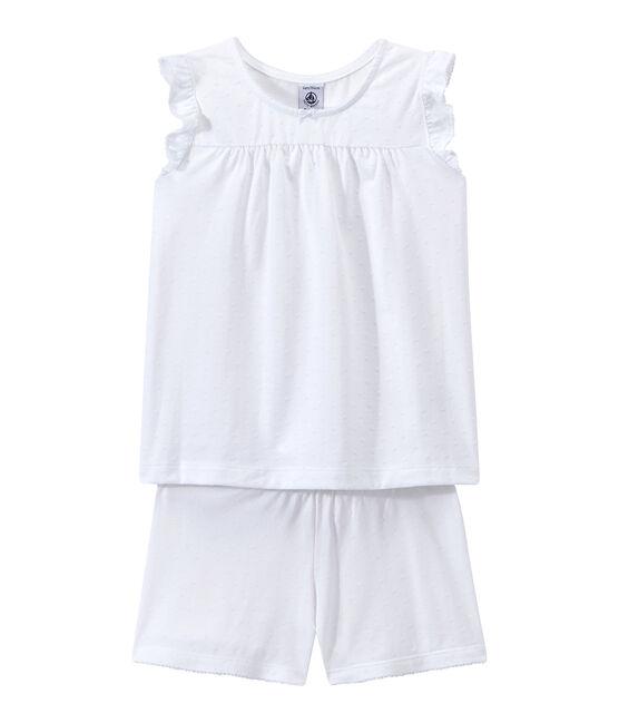 Kurzpyjama aus dünner Baumwolle für kleine Mädchen weiss Ecume