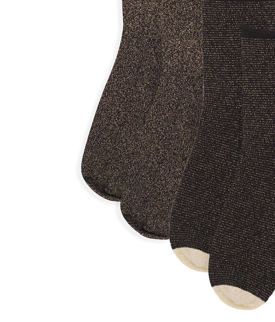 Set Wadensocken für Damen schwarz Noir / gelb Or