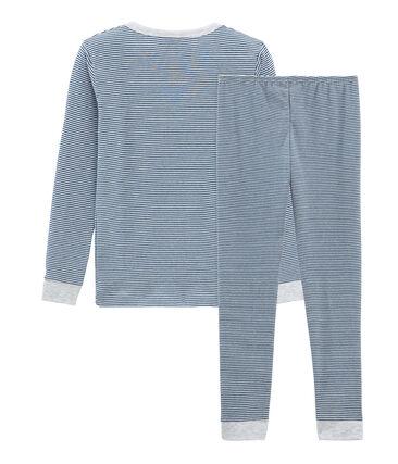 Sehr eng anliegender Rippstrick-Pyjama für kleine Jungen blau Major / weiss Marshmallow