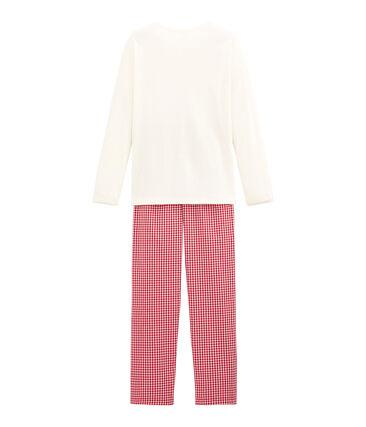 Mädchen Schlafanzug im Materialmix mit Karomuster
