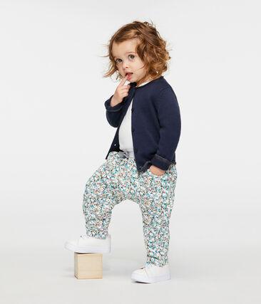 Baby-Hose aus bedrucktem Molton für Mädchen grau Beluga / weiss Multico