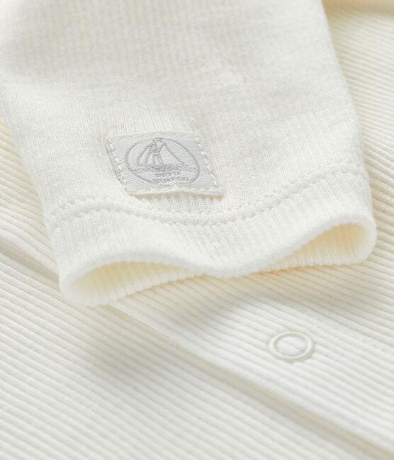 Baby-Strickjacke aus 2x2 Rippstrick weiss Marshmallow