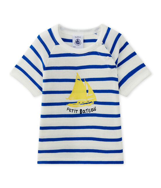 Baby-Jungen-Kurzarmshirt weiss Marshmallow / blau Perse