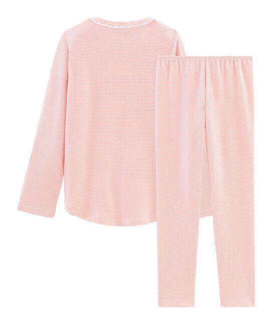 Rippstrick-Pyjama für kleine Mädchen rosa Rosako / weiss Marshmallow