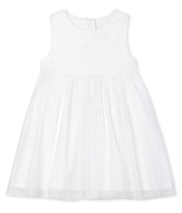Kurzärmeliges Baby-Festtagskleid Mädchen weiss Marshmallow / braun Cuivre