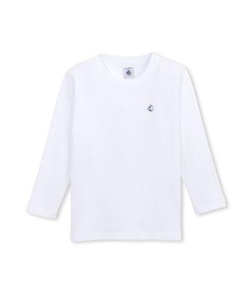 T-Shirt, Langarm, für Jungen aus angerauter Baumwolle weiss Ecume