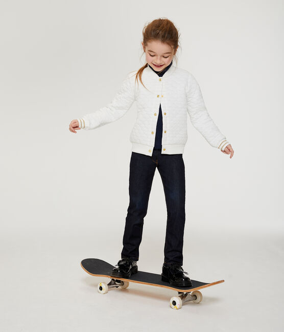 Cardigan aus gestepptem Doppeljersey für Mädchen weiss Marshmallow