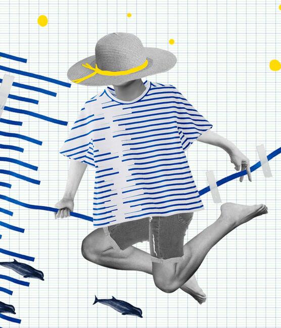 Matrosenshirt in einer Hyères-Neuauflage für Damen weiss Ecume / blau Delft