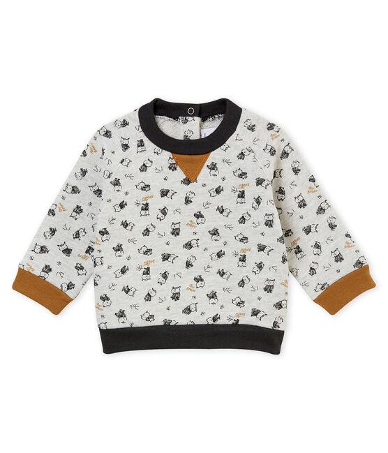 Baby Jungen Sweatshirt mit Print grau Beluga / weiss Multico