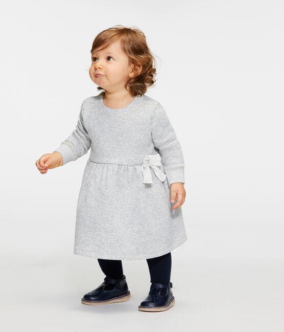 Langärmeliges Babykleid aus Samtstrick für Mädchen grau Beluga / weiss Multico