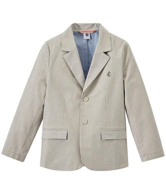 Gestreifte Jungen-Jacke aus Canvas grau Minerai / weiss Lait