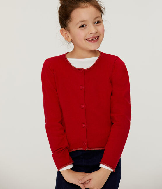 Strick-Cardigan für Mädchen rot Terkuit